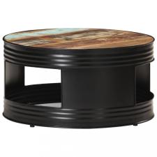 Fekete tömör újrahasznosított fa dohányzóasztal 68 x 68 x 36 cm bútor