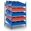 Fém polcállvány ferde polcokkal, alapkivitel 200 x 130 x 120 cm, 1 200 kg, 5 polcos, kék