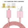 Floveme mágneses kábel micro USB / USB-C / lightning konektorral Apple készülékekre - rózsaszín - arany