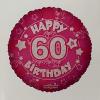 Fólia nagy lufi 60 éves, pink