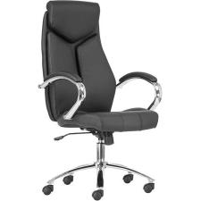 """. Főnöki szék, műbőr borítás, króm lábkereszt, """"KENT"""", fekete/fekete forgószék"""