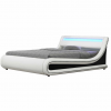 Franciaágy RGB LED világítással, fehér/fekete, 160x200, MANILA NEW