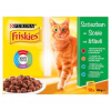 Friskies Szószos Válogatás macskaeledel marhahússal, csirkével, tonhallal, tőkehallal 12 x 100 g