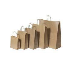 . Füles papírtasak, sodrott füles, barna, 32x12x41 cm kézitáska és bőrönd