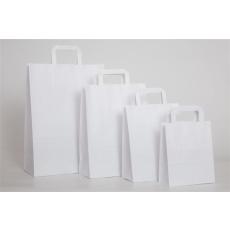 . Füles papírtasak, szalagfüles, fehér, 26x17x25 cm