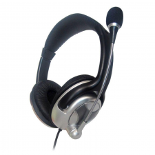 Gembird microphone & stereo headphones with volume control  black-silver headset & mikrofon