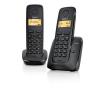 Gigaset A120 DUO vezeték nélküli telefon, Két készülék-egy bázisállomás, 50 neves telefonkönyv, Hívófél azonosítás, Fekete (L36852-H2401-S201)