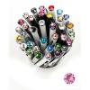 """Golyóstoll, Crystals from SWAROVSKI®, fehér,  14cm""""Elegante"""",  világos rózsaszín kristállyal"""