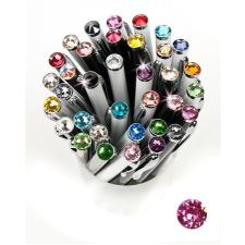 "Golyóstoll, Crystals from SWAROVSKI®, fekete,  14cm""Elegante"", rózsaszín kristállyal toll"