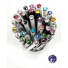 "Golyóstoll, Crystals from SWAROVSKI®, fekete,  14cm""Elegante"", tanzanite lila kristállyal"