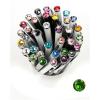 "Golyóstoll, Crystals from SWAROVSKI®, fekete,  14cm""Elegante"", tavasz zöld kristállyal"