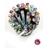 ". Golyóstoll, Crystals from SWAROVSKI®, fekete, 14cm""Elegante"", rózsaszín kristállyal"