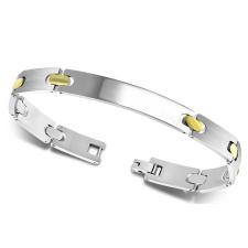 Gravírozható nemesacél karkötő 9*200 mm - ezüst, arany szemekkel karkötő