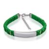 Gravírozható nemesacél - kötél karkötő  - ezüst, zöld