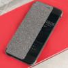 Gyári tok, Huawei P10 Lite, oldalra nyíló smart flip tok, átlátszó szürke, bliszteres