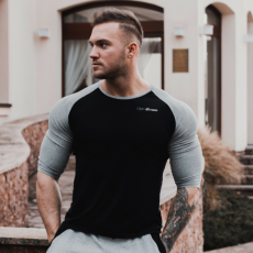 GymBeam Póló Fitted Sleeve Black - GymBeam S
