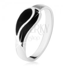 Gyűrű 925 ezüstből, két hullám fekete ónixból, magas fény gyűrű