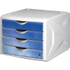 HELIT Irattároló, műanyag, 4 fiókos, HELIT Chameleon, fehér-kék (INH6129634)