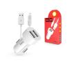 Hoco Apple iPhone Lightning szivargyújtós töltő adapter + lightning adatkábel - 5V/2,4A - HOCO Z2A Dual USB Car Charger + Cable - fehér