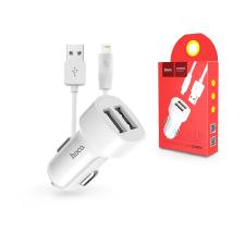 Hoco Apple iPhone Lightning szivargyújtós töltő adapter + lightning adatkábel - 5V/2,4A - HOCO Z2A Dual USB Car Charger + Cable - fehér kábel és adapter