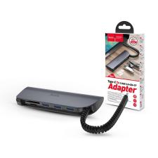 Hoco HOCO USB Type-C elosztó HUB - 3xUSB 3.0 + SD/SDHC/SDXC/TF kártya - HOCO HB17 Type-C to 3 USB Ports/Card Converter HUB - szürke mobiltelefon kellék