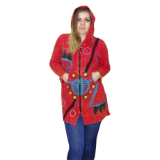 Hosszú vékony kabát Nepálból 2 színben L Piros