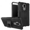 Huawei Mate 9, Műanyag hátlap védőtok, Defender, kitámasztóval és szilikon belsővel, autógumi minta, fekete