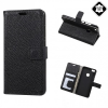 Huawei P10 Lite, Oldalra nyíló tok, valódi bőrtok, stand, fekete