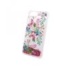 Huawei P20, TPU szilikon tok, ütésálló, virág minta, Liquid Glitter Shock, piros/átlátszó, No.2