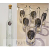Hunbolt Ón Gyula matrica hosszú pálinkás üveg, 6db ón Gyula matrica pálinkás pohárral