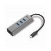I-TEC USB C Metal, 3 port HUB, Gigabit Ethernet, 1x USB C  RJ-45-re,  3x USB 3.0, LED, C31METALG3HUB