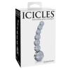 Icicles No. 66 - íves, gömbös, üveg dildó (áttetsző)