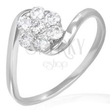 Jegygyűrű - szivárványfényű cirkóniavirág gyűrű