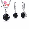 JEXXI 925 Sterling ezüst és cirkónium nyaklánc és fülbevaló szett, fekete