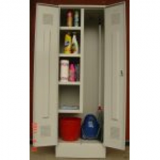 K2453U tisztítószer tároló szekrény 4 fix polc, vödörtároló, akasztók irodabútor