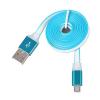 Kábel: Univerzális micro usb kék-fehér adatkábel fém csatlakozóval