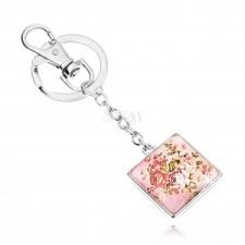Kaboson kulcstartó, négyzet kidomborodó üveggel, rózsa motívum zöld levelekkel kulcstartó