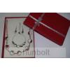 Kalocsai porcelán gyöngy nyaklánc, karkötő és fülbevaló díszdobozban
