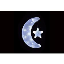 Karácsonyi dísz - hold csillaggal - hideg fehér karácsonyfa izzósor