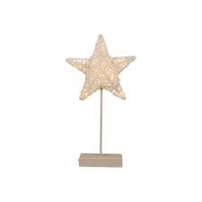 Karácsonyi dísz - világítő csillag állványon - 40 cm, 10 LED dióda karácsonyfa izzósor