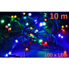 Karácsonyi LED világítás 10m - színes, 100 dióda karácsonyfa izzósor