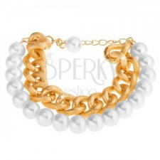 Karkötő fehér gyöngyházfényű gyöngyökből és arany árnyalatú masszív láncból karkötő