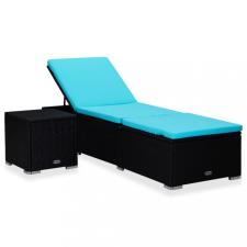 Kék polyrattan napozóágy párnával és teázóasztallal kerti bútor