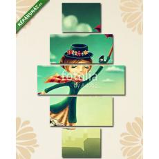 Képáruház.hu Premium Kollekció: Nő repül az esernyővel(135x70 cm, S01 Többrészes Vászonkép)