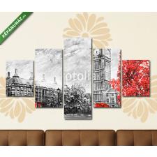 Képáruház.hu Premium Kollekció: oil painting on canvas, street view of london. Artwork. Big ben.(135x70 cm, S01 Többrészes Vászonkép) grafika, keretezett kép