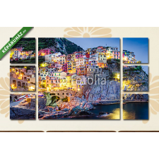 Képáruház.hu Premium Kollekció: Scenic night view of colorful village Manarola in Cinque Terre(135x80 cm, W01 Többrészes Vászonkép) grafika, keretezett kép