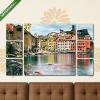 Képáruház.hu Premium Kollekció: Vernazza village, church, rocks and sea harbor on sunset. Cinque(135x80 cm, W01 Többrészes Vászonkép)