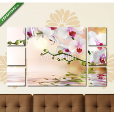 Képáruház.hu Premium Kollekció: white orchids on water with drop(135x80 cm, W01 Többrészes Vászonkép) grafika, keretezett kép