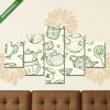 Képáruház.hu Premium Kollekció: Zökkenőmentes tea minta keleti teáskannával és csészékkel(135x70 cm, S01 Többrészes Vászonkép)