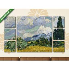 Képáruház.hu Vincent Van Gogh: Búzamező ciprusokkal(135x80 cm, W01 Többrészes Vászonkép)